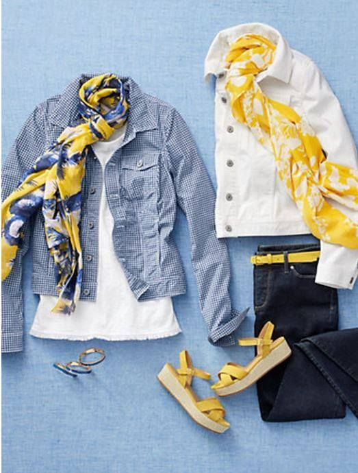I do love yellow  Not going as far as the shoes, but a blue and yellow scarf would be great is part of Fashion outfits -