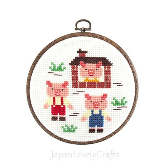Japanese Cross Stitch Kit Tutorial, Fairy Tale, Three Little Pigs, Beginner Embroider, Hand Embroidery Kit, Cute Embroidery Wall Art, JapanLovelyCrafts