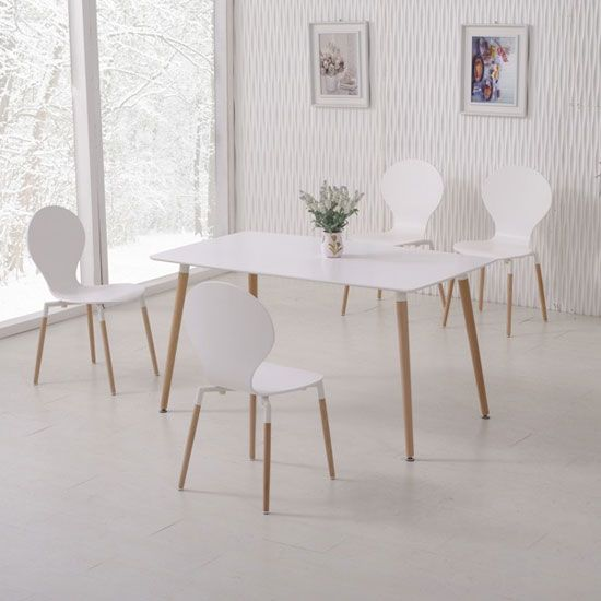 Napoli White Top Dining Table And 6 Dining Chairs  Dining Glamorous Scandinavian Dining Room Sets 2018
