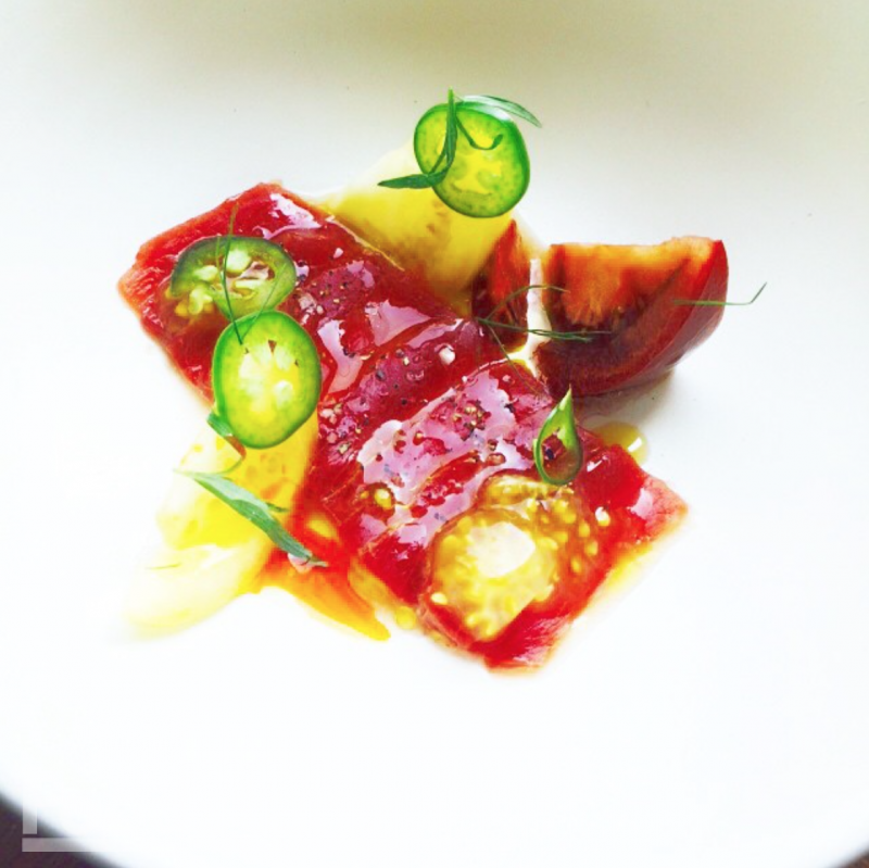 Blue Fin Tuna Tiradito, Mesquite Smoked Vinegar & Heirloom Tomatoes