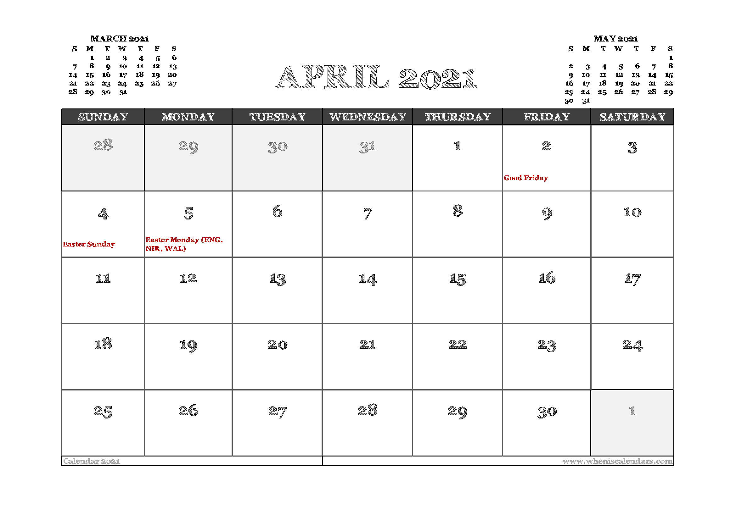 April 2021 Calendar Uk Printable In 2020