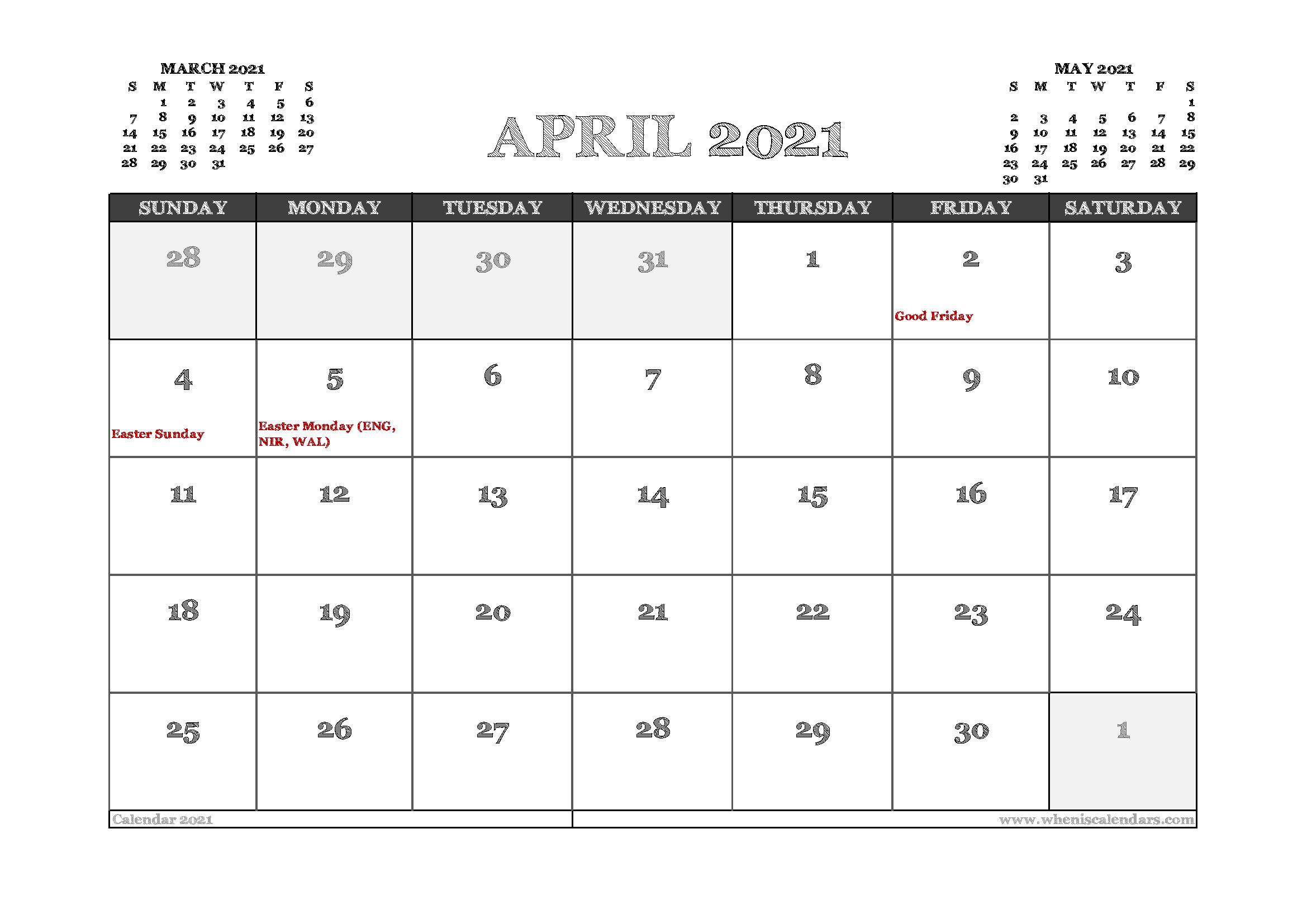 April 2021 Calendar Uk Printable In 2020