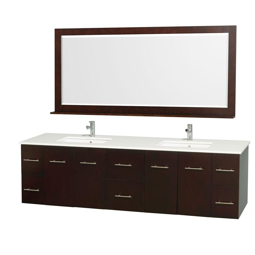 Centra 80 Inch W 6 Drawer 4 Door Vanity In Brown With Artificial