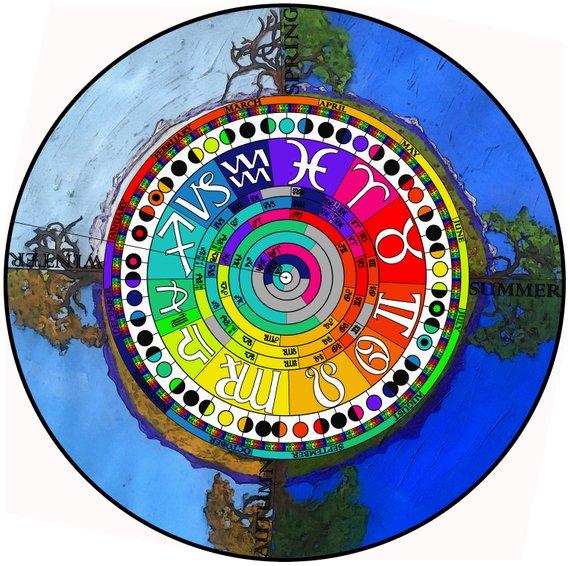2019 Printable Rainbow Astronomical Calendar - calendar that
