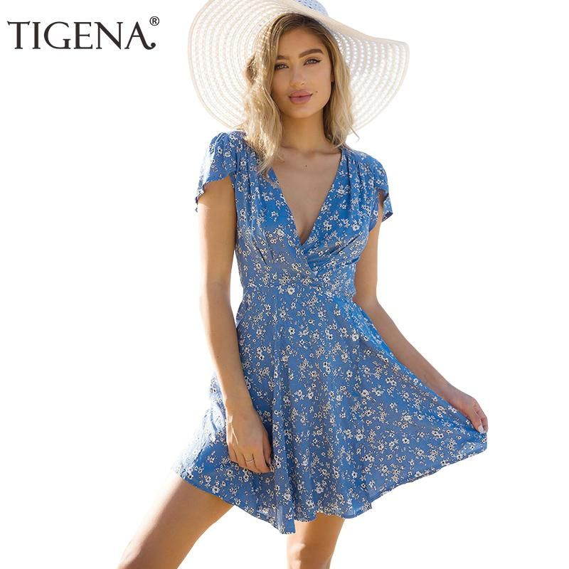 TIGENA Floral Deep V-neck Wrap Summer Dress Women 2018 Summer Sundress  Casual Tunic Beach Dress Shirt Short Sexy Robe Femme e64903ac493d