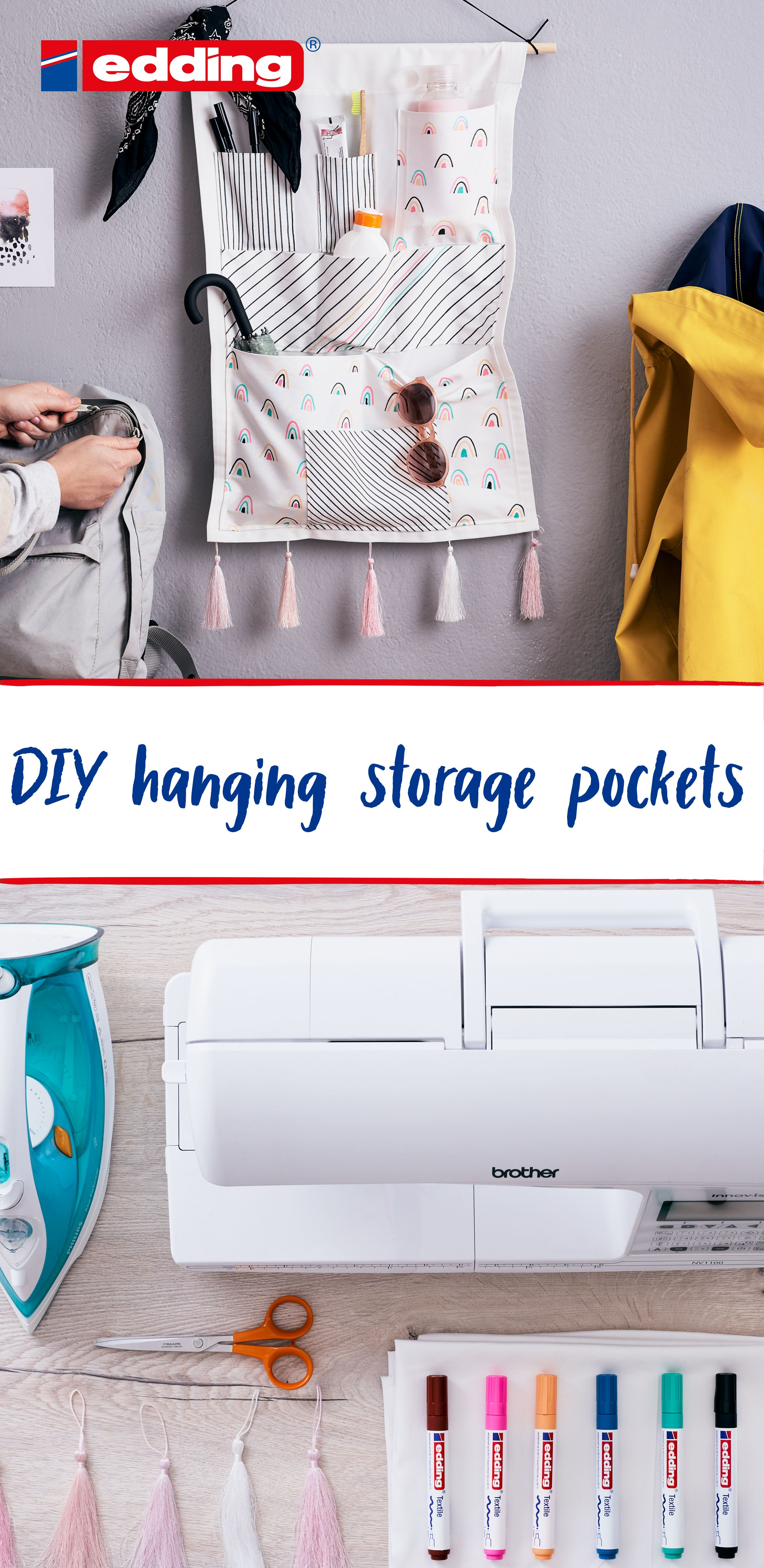 Diy Hanging Storage Pockets Sew And Customise Your Own Wall