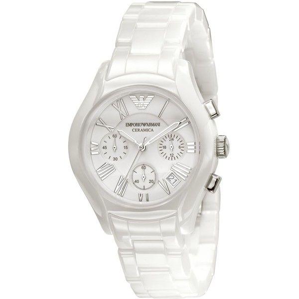 Emporio Armani Watch Women S Chronograph White Ceramic Bracelet Armani Watches Armani White Emporio Armani