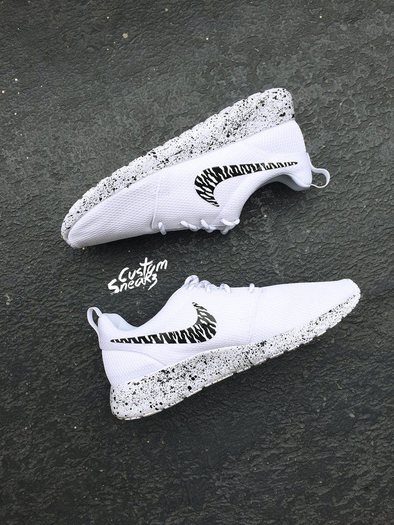 Custom Roshe Oreo Design Womens Nike Custom Roshes Oreo Black And