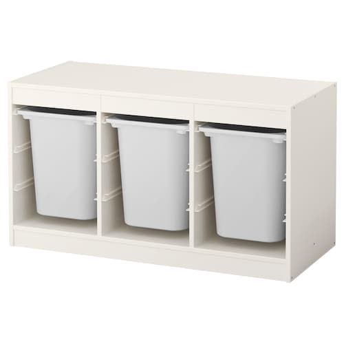 TROFAST Storage combination with boxes, white, white, 39x17 3/8x22. Find it here! - IKEA