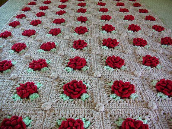 Crochet Rose Blanket Raised Red Roses Throw Afghan Twin ...