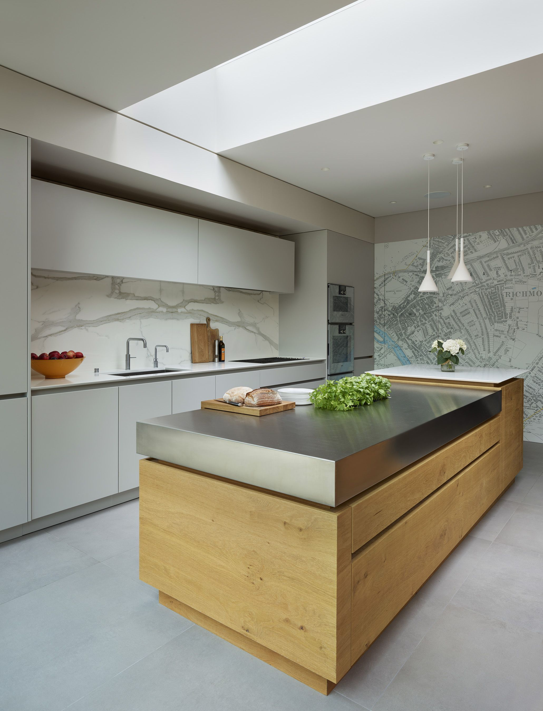 Stainless Steel Worktop On Wood Island In Urbo Roundhouse Kitchen