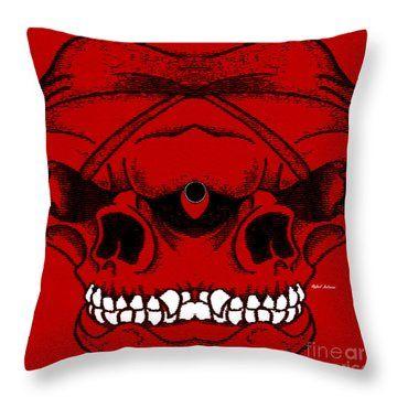 Red Skull  Throw Pillow by Rafael Salazar