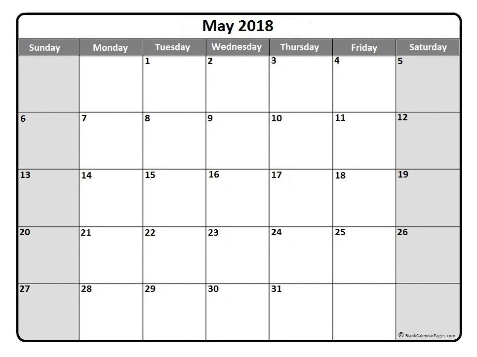 May 2018 Monthly Calendar Printout | Printable Calendars