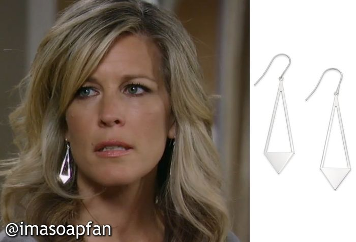 dc880b96c I'm a Soap Fan: Carly Corinthos Jacks's Silver Triangle Drop Earrings -  General Hospital, Season 53, Episode 39, 05/26/15 #GH #GeneralHospital