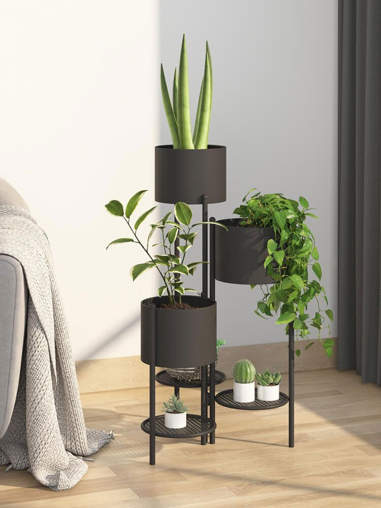 Nordic Living Room Flower Shelf Wrought Iron Multi Layer Flower Pot Rack In 2020 Nordic Living Room Plant Shelves Flower Pots #plant #stands #for #living #room