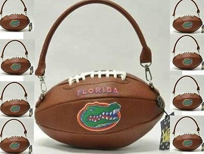 Las Handbag Florida Gators Football Shaped Logo Purse W Tag Tickets