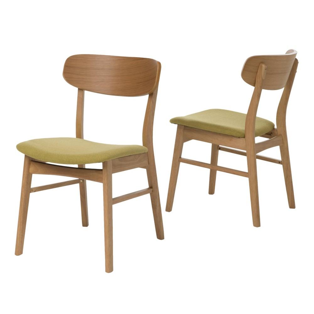 Lucious Dining Chair Natural Oak Green Tea Set Of 2