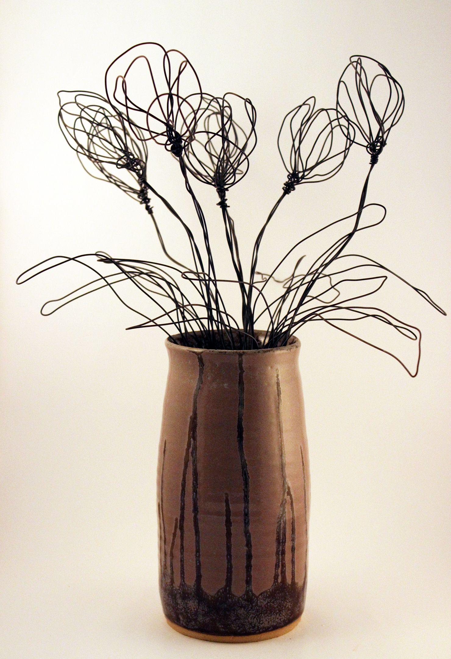 Black wire modern flower arrangement minimalist tulips
