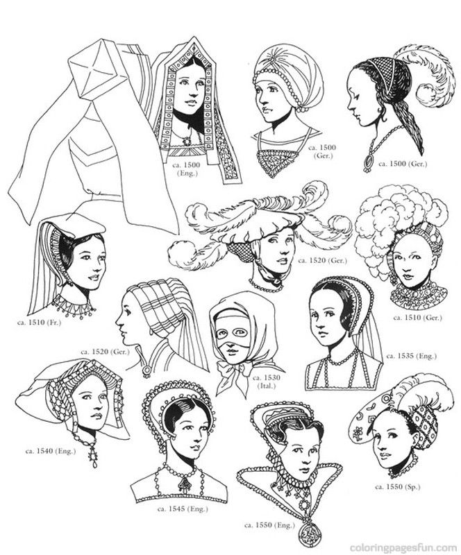 Renaissance Costumes and Clothing Coloring Pages 44 - Free ...