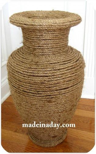 diy natural rope covered vase