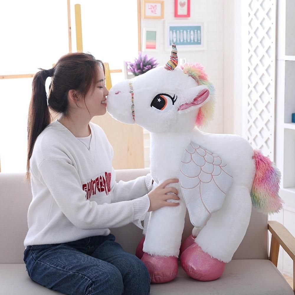 plush toy stuffed doll soft rainbow wings smiling unicorn baby birthday gift 1pc