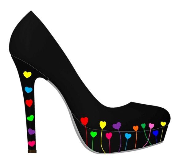 Black hearts shoes