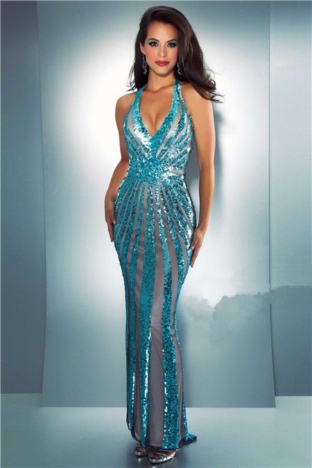 turquoise evening dress | ... Sexy Sheath Halter Backless ...