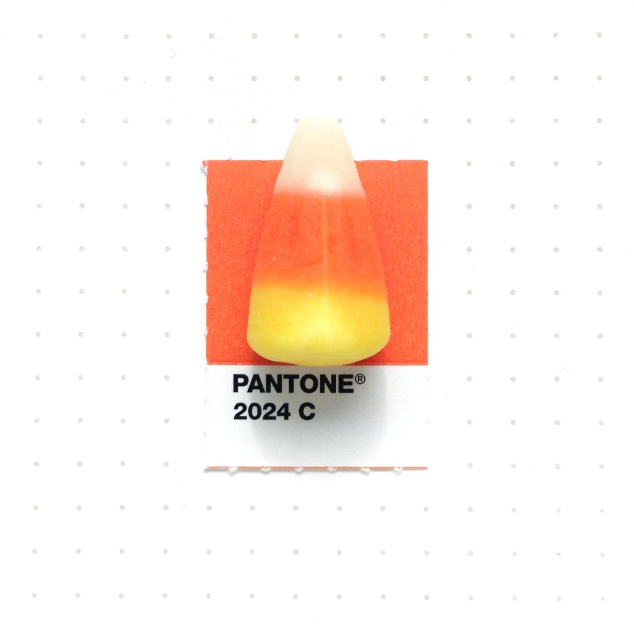 "Pantone 2024 color match.  Candy corn. My daughter loves these. I'm excited for Thanksgiving this year, since my parents are coming to visit from Indonesia   // SNEAK PEEK PHOTO from my upcoming book ""Tiny Pantone Objects"" //"