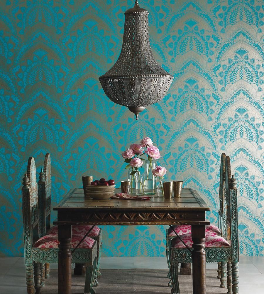 Azari Wallpaper In Turquoise And Gold By Matthew Williamson