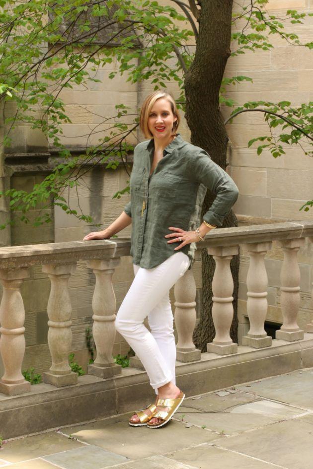 J Crew White Matchstick Jeans, Gap Linen Shirt, Gold Birkenstock Sandals, 40 + fashion blogger, 40 + style blogger, over 40 fashion blogger, over 40 style blogger