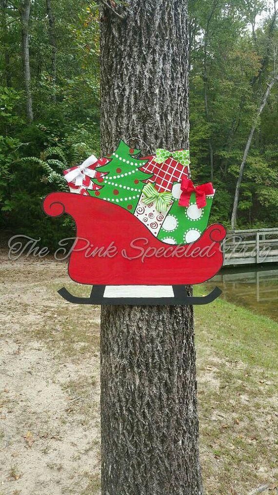 Sleigh door hanger Christmas door hanger Christmas signs
