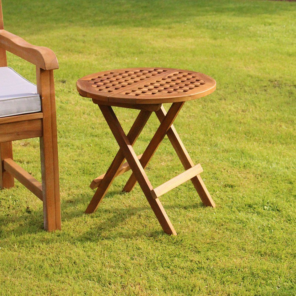 Folding Teak Garden Side Table