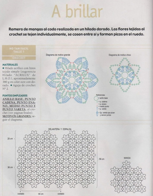 Jersey media manga de flores 6 petalos - Patrones Crochet | Crochet ...