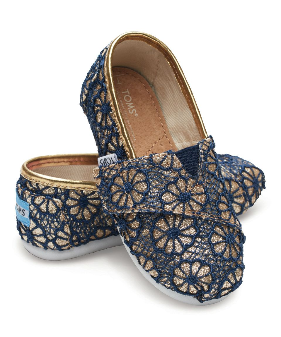 efd928ed5f4 Look what I found on  zulily! TOMS Blue   Gold Crochet Glitter Alpargatas -  Tiny by TOMS  zulilyfinds