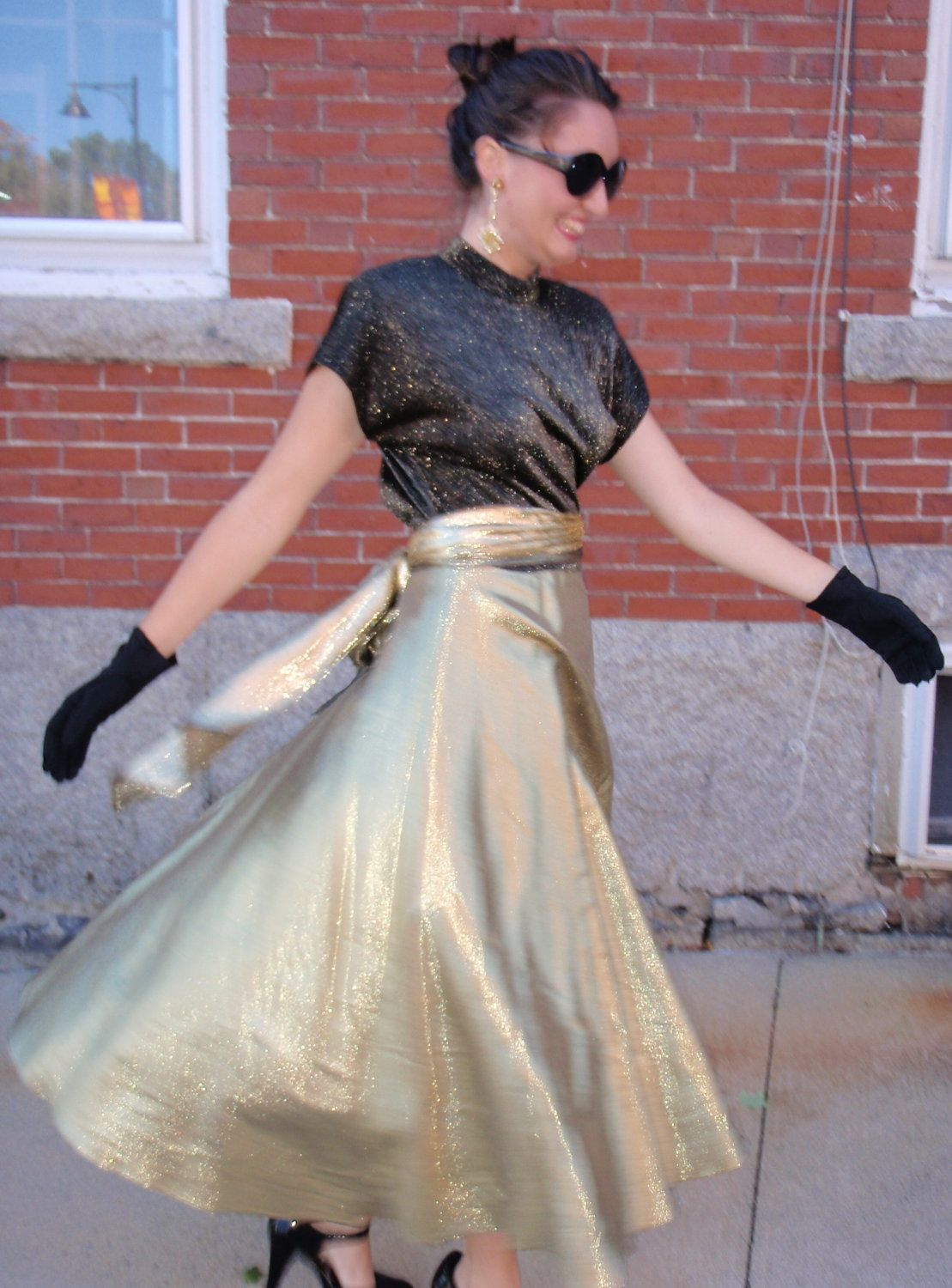 Glamorous s black and gold crinkle gown prom dress by christa new