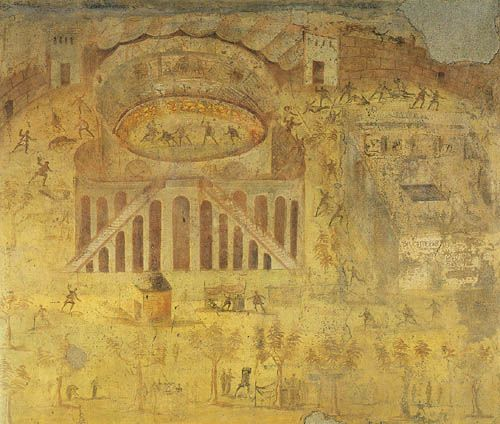 Brawl in the Pompeii amphitheater, wall painting from House I,3,23 ...