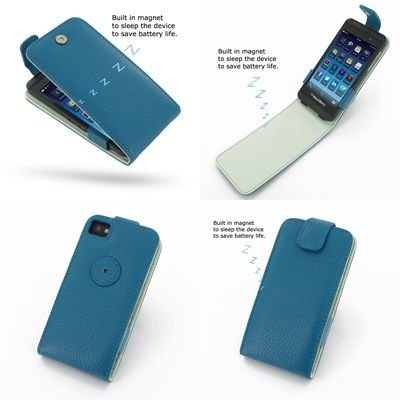 PDair Leather Case for BlackBerry Z10 - Flip Top Type (Teal/Floater Pattern)