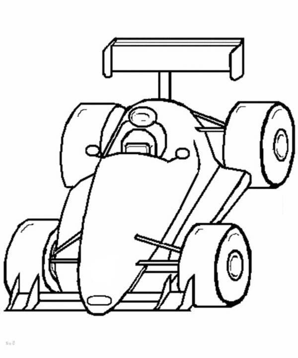 Pencil And In Color Drawn Car Formula 1: Race Car, F1 Race Car Front View Coloring Page: F1 Race