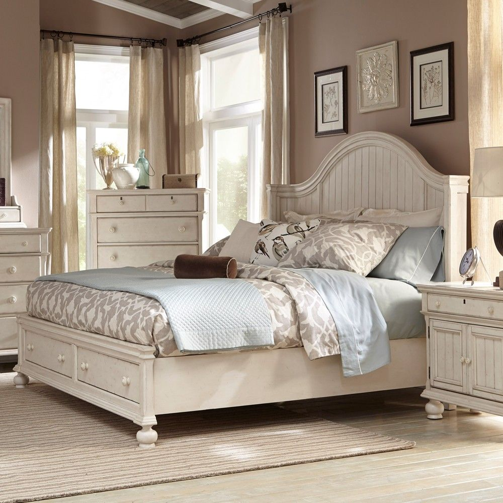 Newport Wood Storage Bed in Antique White White paneling