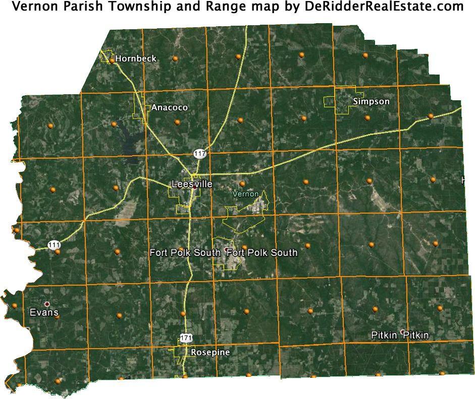 Vernon Parish Township And Range Map Vernon Parish Parish Township