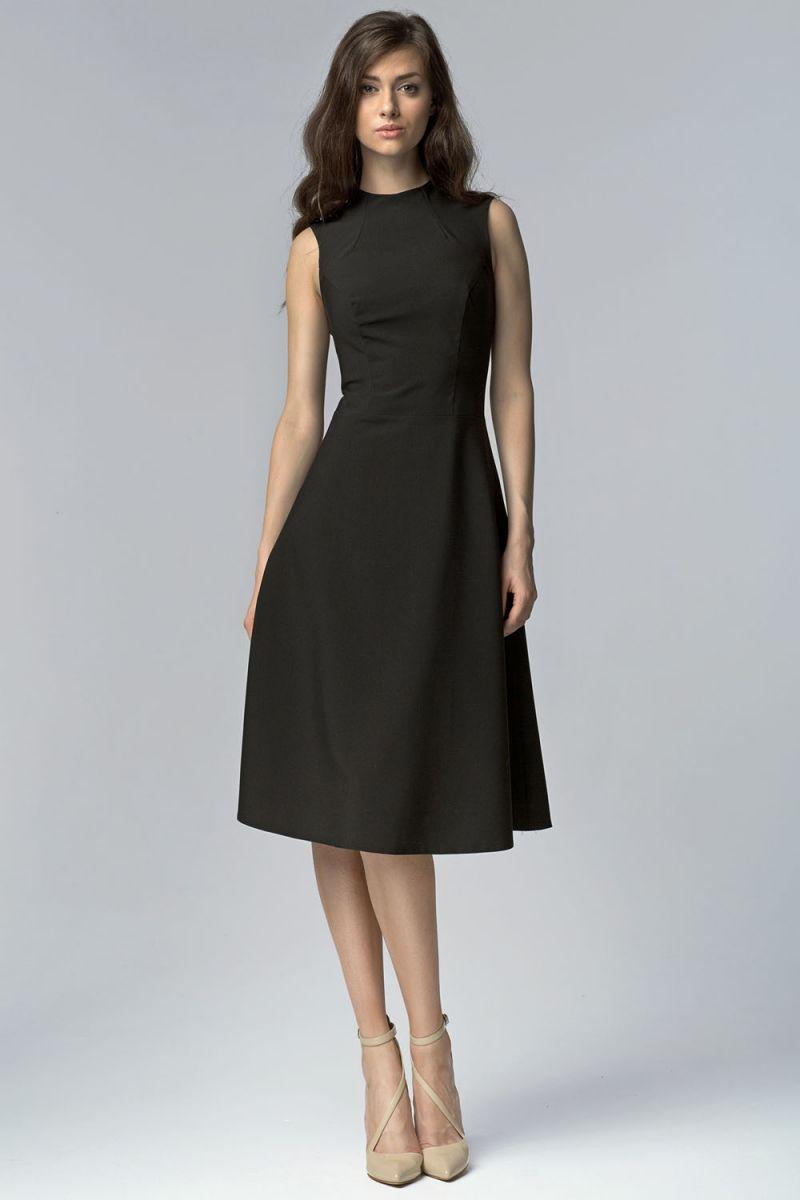 Rozkloszowana czarna sukienka za kolano fashion4u.pl | Sukienki ...