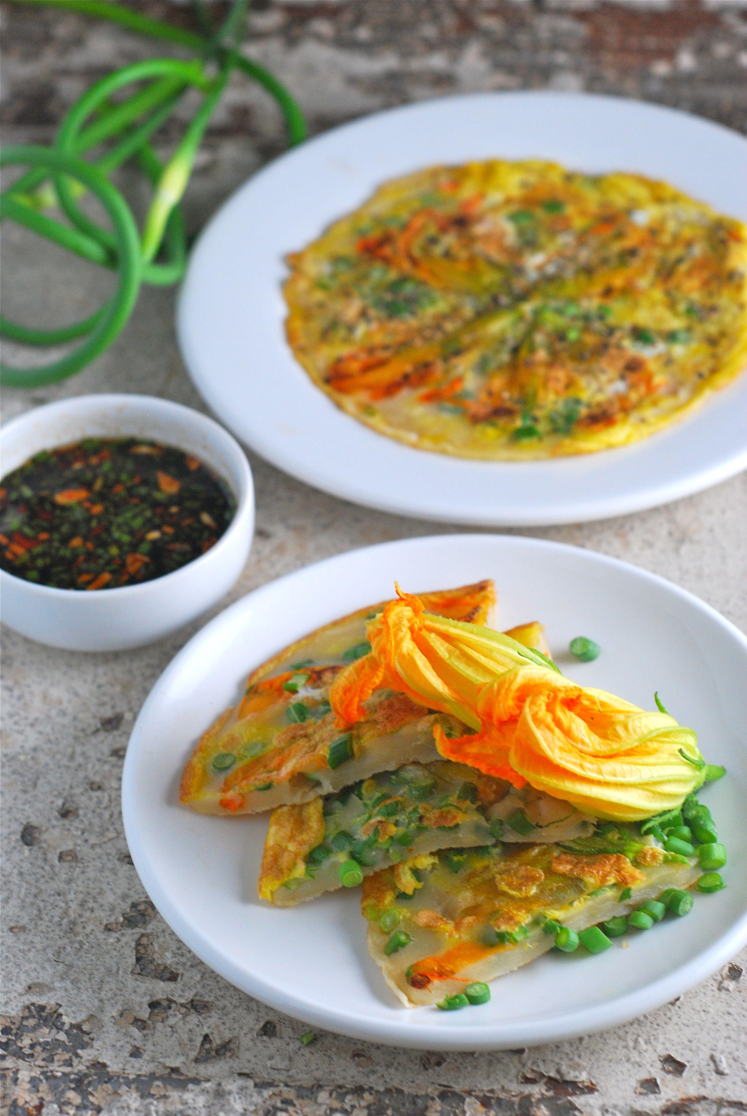 Korean pancakes with squash blossoms and garlic scapes korean pancakes with squash blossoms and garlic scapes threebeansonastring vegan vegetarian korean food recipesveggie forumfinder Image collections