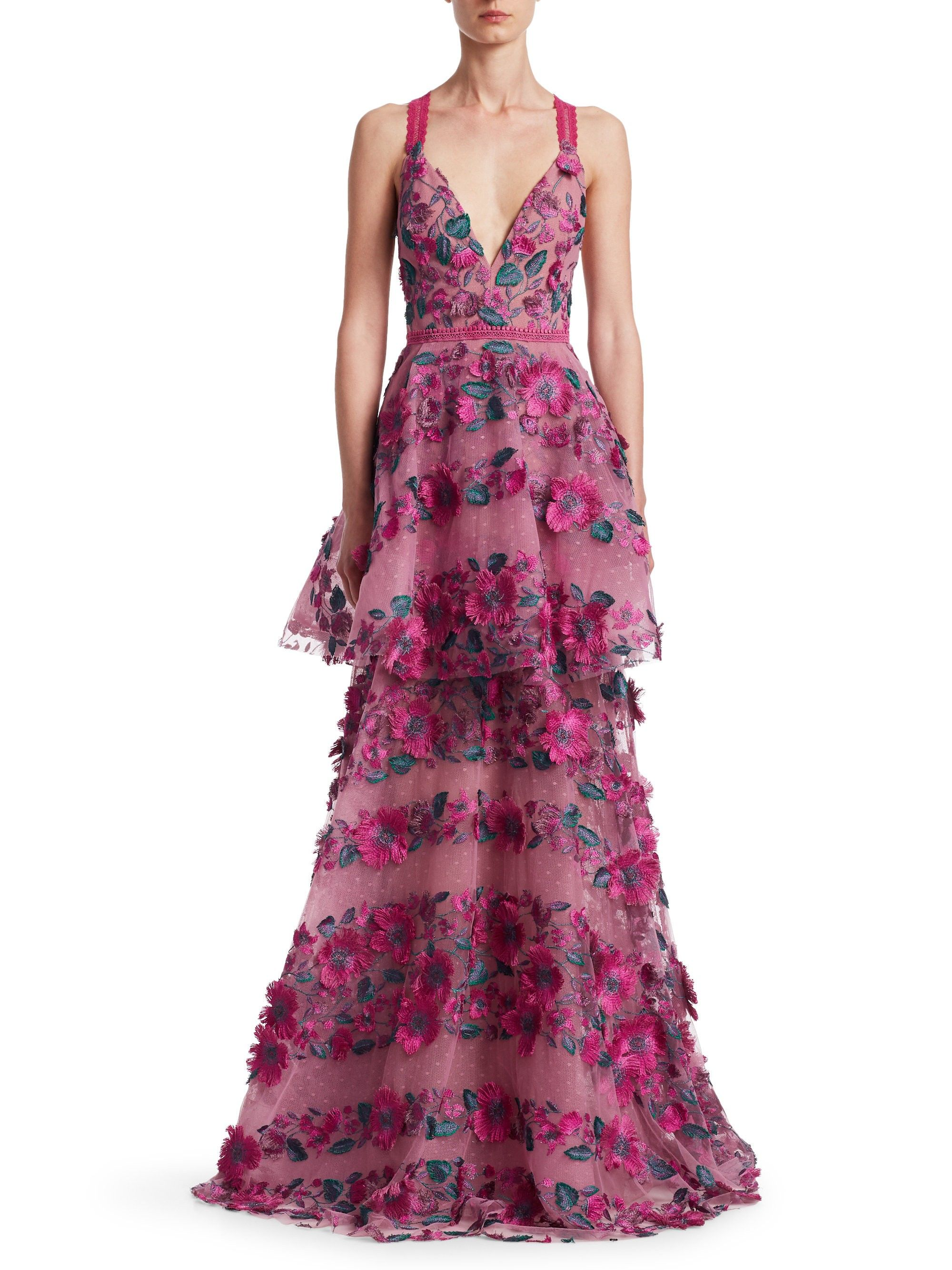 2d85692275fc Marchesa Notte Floral Embroidered Tiered Mesh Gown - Pink 14 in 2019 ...
