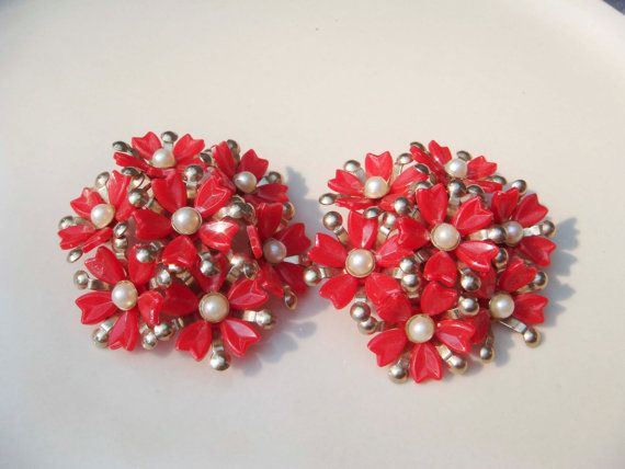 Vintage Red Flower and Gold Earrings clip on by PaganCellarJewelry, $11.99