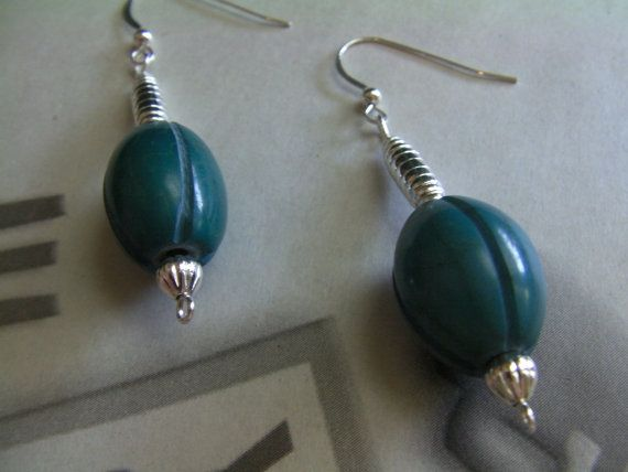 Long Turquoise Color Dangle Earrings Teal by ArtisticSparkle, $20.00