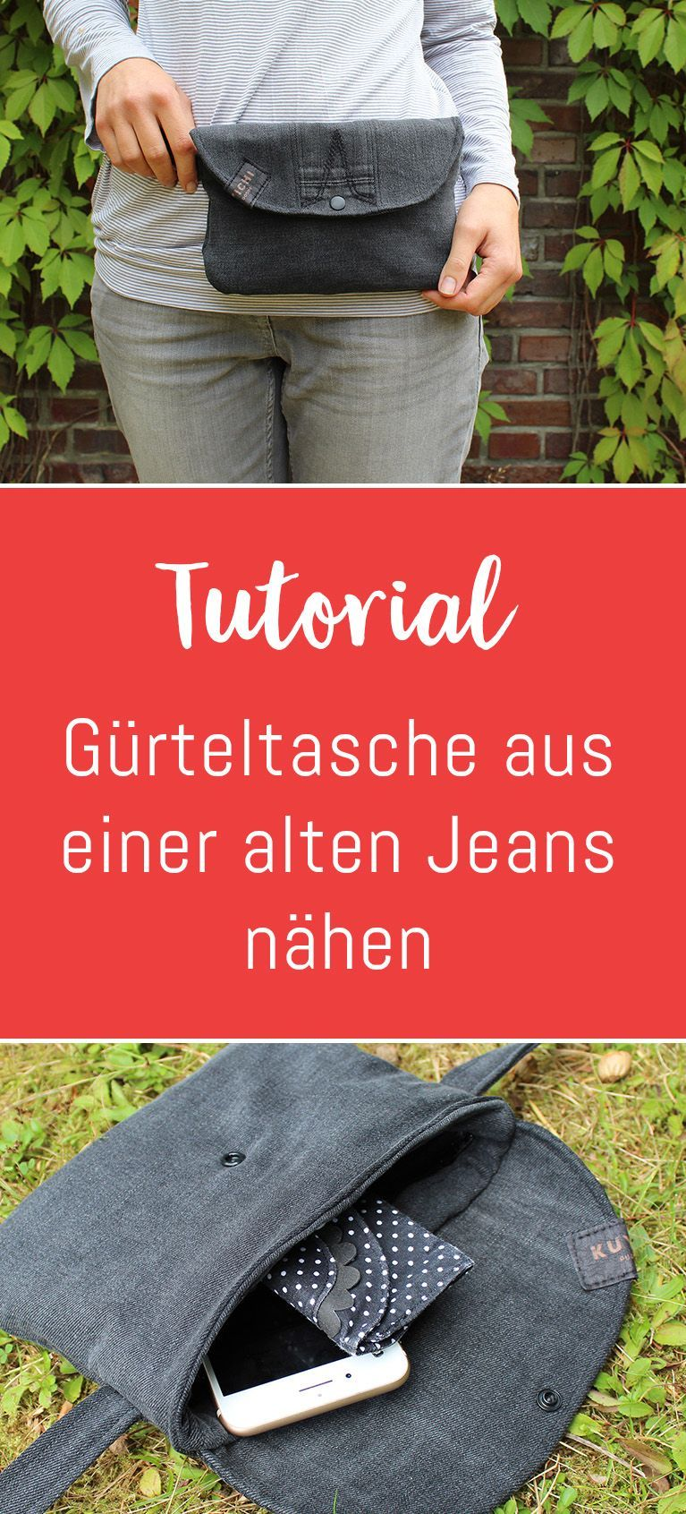 Upcycling-Projekt: Gürteltasche aus einer alten Jeans nähen - Kreativlabor Berlin