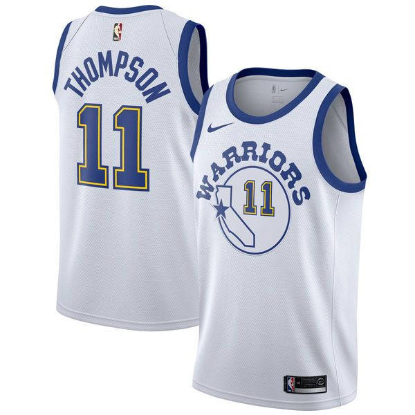 9b2979a0c Men s Golden State Warriors Klay Thompson Nike White Fashion Current Player Hardwood  Classics Swingman Jersey