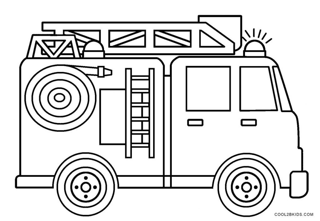 Firetruck Coloring Page For Kids