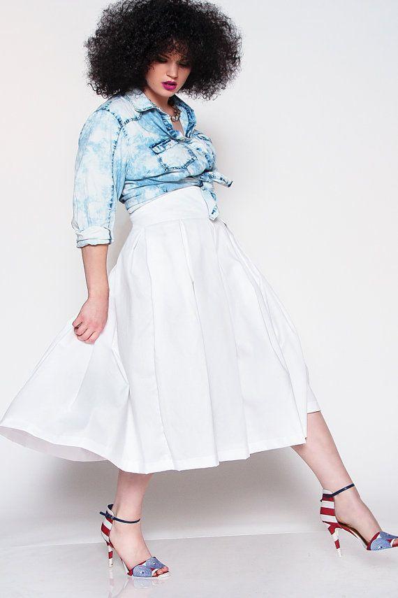 d76f10292688f JIBRI White High Waist Pleated Midi Skirt by jibrionline on Etsy ...