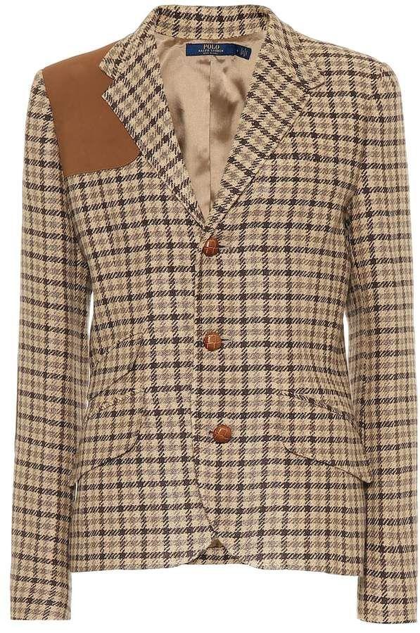 Checked linen-blend blazer #ralphlaurenwomensclothing